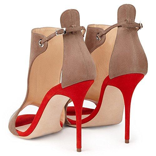 aiweiyi Womens tacón puntera abierta correa de hebilla zapatos de plataforma de vestido de fiesta Casual sandalias de bomba Red