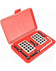 """Toolly Ultra Precision 1-2-3"""" Blocks 2pcs/Pair, 0.0001"""", Hardened Steel, with Screws and Key in Plastic Box"""