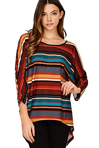 (Annabelle Women's Comfy Oversized Long Sleeve Batwing Dolman Stripe Tunic Tops Rust Olive Small T1193)