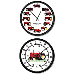 New Restored Massey Harris Vintage Tractor 10 Wall Clock & Thermometer Set
