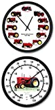 New Restored Massey Harris Vintage Tractor 10″ Wall Clock & Thermometer Set For Sale