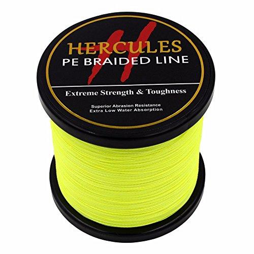 1000m 1094yds Fluorescent Yellow 6lbs-100lbs Hercules Pe Dyneema Braid Fishing Line 4 Strands (80lb/36.3kg 0.48mm) (6 Lb Weed)