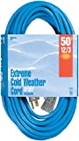 Woods 2438 12/3 Outdoor Cold-Flexible SJTW Extension Cord, Blue with Lighted 50-Foot, End