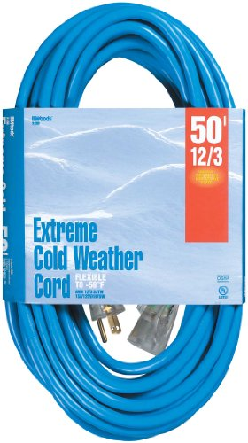 Woods 2438 12/3 Outdoor Cold-Flexible SJTW Extension Cord, Blue with Lighted 50-Foot, End by Woods