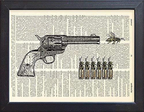Gun Poster, Revolver Print, Wasps Book Page Art, Wall Decor