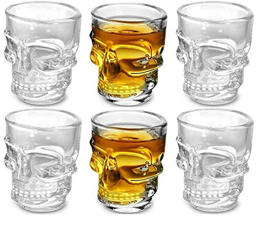 Circleware Skull Face Heavy Base Whiskey Glasses, Set of 6, Party Home and Entertainment Dining Beverage Drinking…