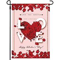 Infun 12 x 18 Inch Valentine's Heart Double-Layer Garden Flag