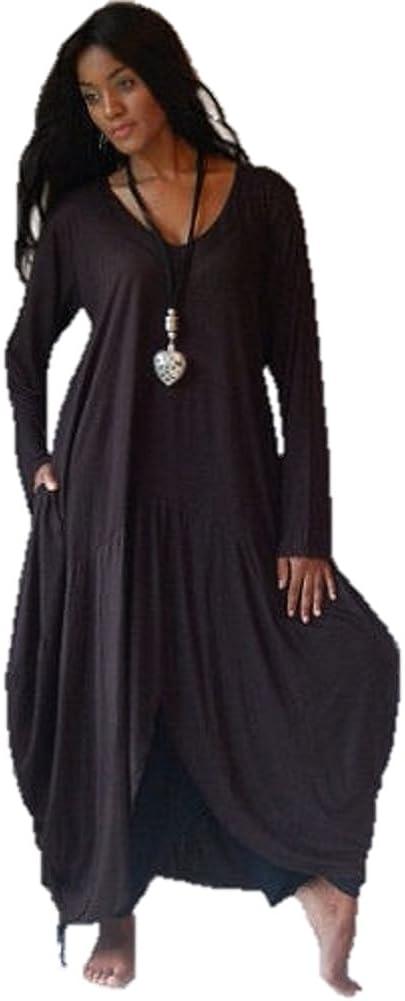 LOTUSTRADERS Women's 2021 autumn and winter new Vintage Dress Popularity Lagenlook Hem Jersey Tunic B5