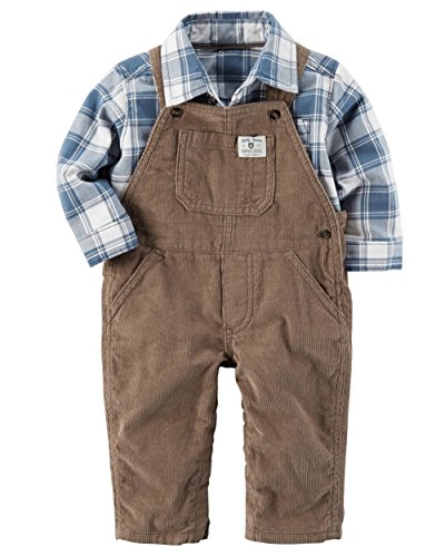 Carter's Baby Boys' 2-Piece Plaid Top & Corduroy Overall Set, (Plaid Boys Overalls)