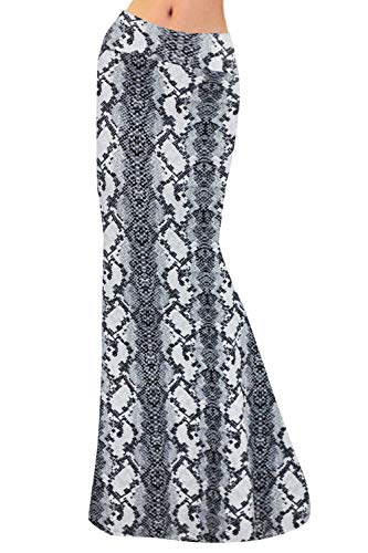 Multifit Women Fold Over High Waisted Elastic Floral Printed Long Skirt Maxi Skirt(Gray Snakeskin-L)