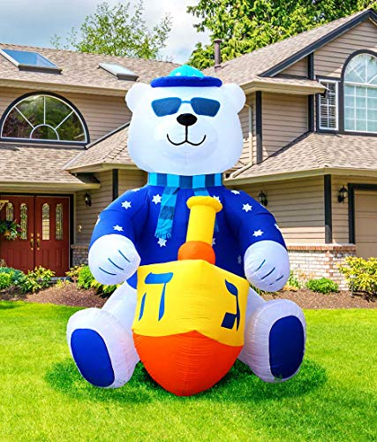 Zion Judaica Jumbo Inflatable Lawn Hanukkah Themed Bear Indoor Outdoor Decoration with LED Night Glowing Lights - 11' Tall -