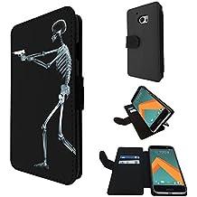 1112 - Cool Fun Death Skeleton Zombie X-Ray Gun Funny Bones Design Microsoft Nokia Lumia 650 Fashion Trend TPU Leather Flip Case Full Case Flip Credit Card TPU Leather Purse Pouch Defender Stand Cover