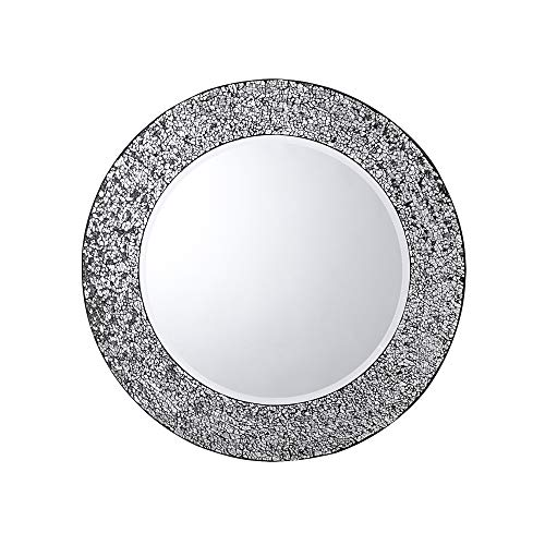 Whole Housewares Modern Mosaic Frame Wall Mirror, Decorative Round Wall Mirror Diameter 20