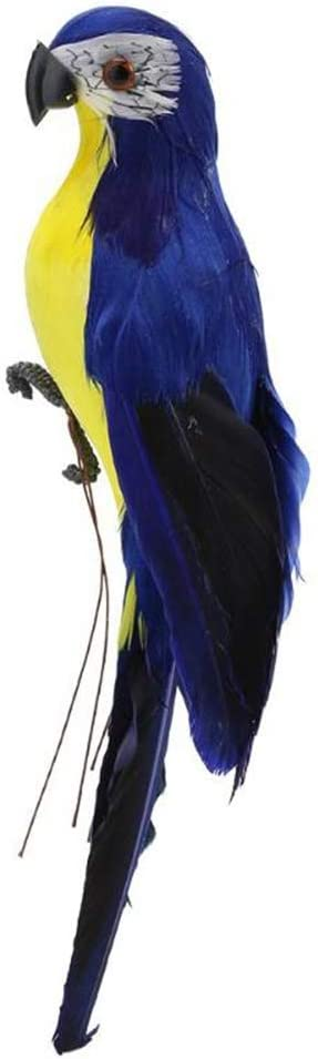 Feather Parrot Artificial Bird for Modern Home Garden Zoo Ornament Decoration Colorful (9.84inch(25cm), Blue)