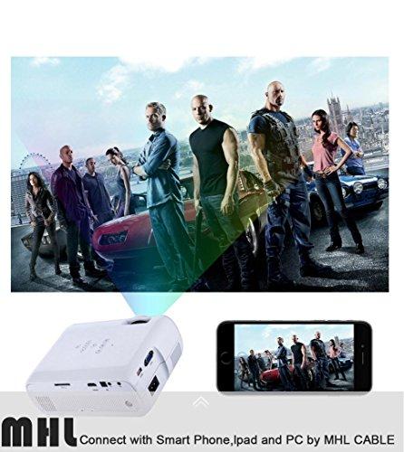 LED HD Micro Home Theater Projector ,Tuscom U80 1000lumens 1080P Multimedia Mini Portable HD Projector (White) by Tuscom (Image #3)