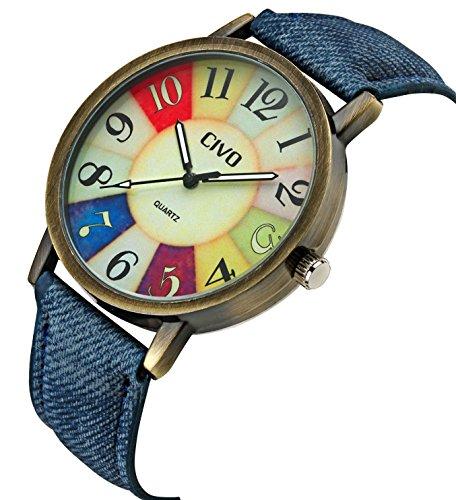 CIVO Mens Womens Denim Leather Watch Band Bronze Case Wrist Watch Business Casual Retro Vintage Style (Blue)