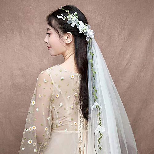 Timoo Bachelorette Veil Headband, Boho Flower Crown Garland Headband for Bridal Shower, Bachelorette Party, Engagement Party ()