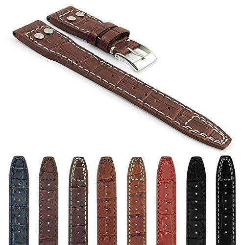 DASSARI Aviator Croc Embossed Leather Watch Strap for IWC Big Pilot in Dark Brown w/White Stiching 21mm