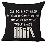 #5: Book Lover Reading Club Beige One Does Not Stop Buying Books Cotton Linen Decorative Throw Pillow Case Cushion Cover Square 18
