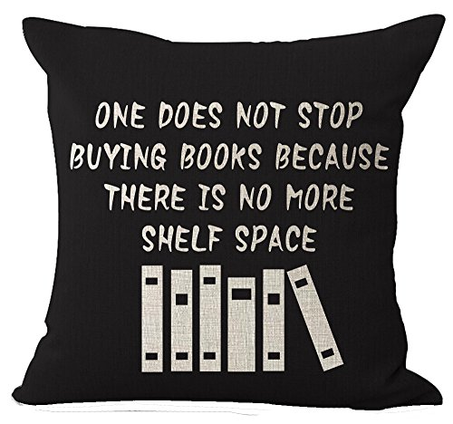 Book Lover Reading Club Beige One Does Not Stop Buying Books Cotton Linen Decorative Throw Pillow Case Cushion Cover Square 18 X18