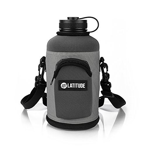 Beer Growler 64oz Protective Carrier Tote Black Nylon & Neoprene Sleeve with Shoulder Strap (Bottle Sold Separately) Fits Hydro Flask and Other Popular Brands - Gray (Beer Growler Carrier)
