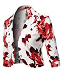 Awesome21 Floral Print 3/4 Sleeves Open Front Bolero Blazer - Made in USA White Red S