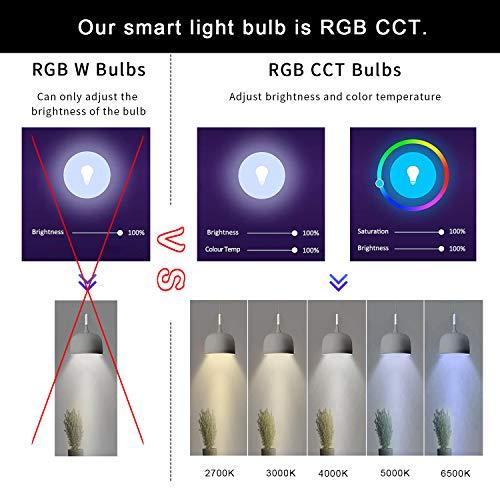Smart Bulb Wifi Led Bulb E26 A19 7W 600LM Multicolored RGB CCT Smart