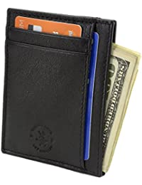 RFID Blocking Minimalist Front Pocket Wallet Genuine Leather