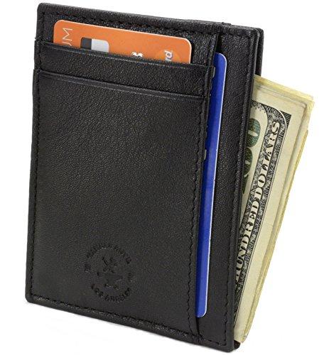 ocking Minimalist Genuine Leather Slim Front Pocket Wallet Black (Mens Anvil)