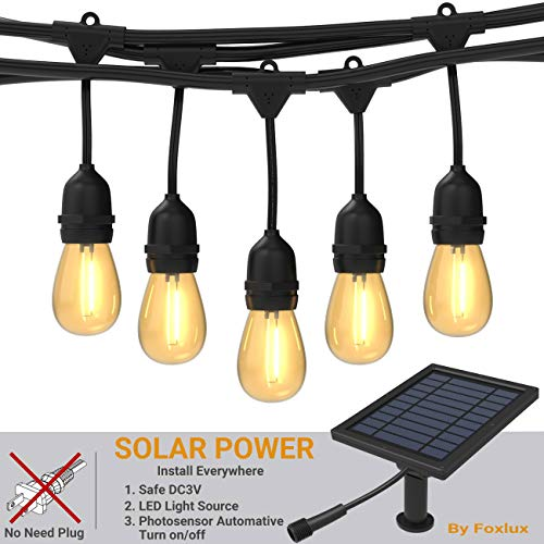 Foxlux Solar String Lights,48FT LED Outdoor String Light,Shatterproof&Waterproof Heavy-Duty Pergola Lights,15 Hanging Sockets,Light Control,S14 Plastic Edison Bulbs,Create Ambience for Bistro,Patio