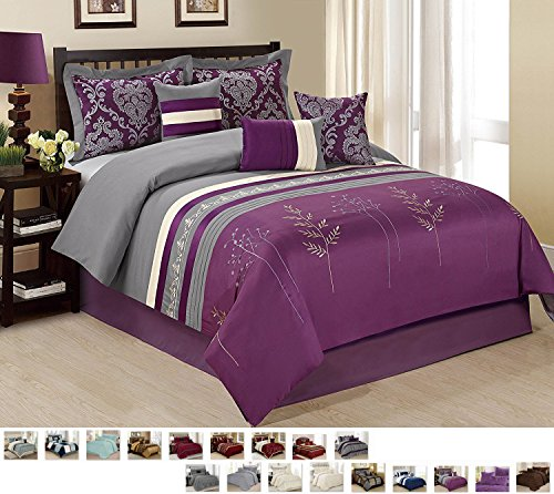Tree Branch Print Pattern Comforter Set Bed in a Bag with Bed Skirt and Decorative Pillows Shams (Queen, Purple Gray Dala) (Branch Comforter Set)