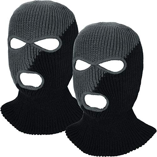 2 Pieces 3-Hole Ski Mask Knitted Face Cover Winter Balaclava Full Face Mask for Winter Outdoor Sports