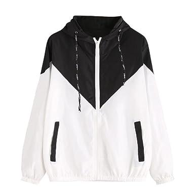 47b2f3c3e46 Wanshop ® Ladies Long Sleeve Jacket Womens Fancy Windbreaker Hooded Colour  Block Coat Top  Amazon.co.uk  Clothing