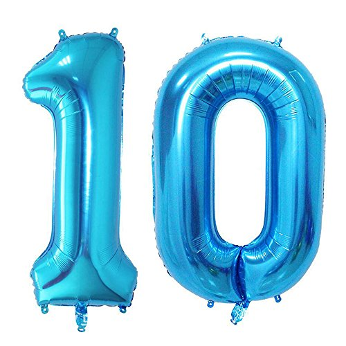 40inch 10th Blue Number balloon Party Festival Decorations Jumbo foil helium balloons for party (Blue Number 10) - 10 Balloons