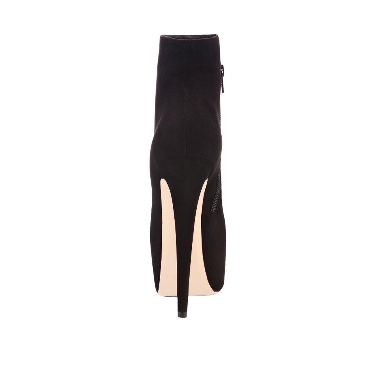 Onlymaker Damen Pumps Stiletto Stiefel High Heels Schwarz Kurzschaft Stiefelette mit Plateau Schwarz Heels 3a2470