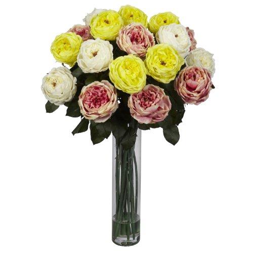 Nearly Natural 1219-AP Fancy Rose Silk Flower Arrangement, Assorted Pastels