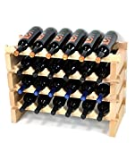 Appliances : Modular Wine Rack Pine Wood 24-72 Bottle Capacity Storage 6 Bottles Across up to 12 Rows Stackable Newest Improved Model (24 Bottles - 4 Rows)