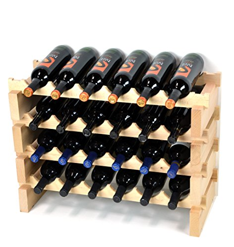 (Modular Wine Rack Pine Wood 24-72 Bottle Capacity Storage 6 Bottles Across up to 12 Rows Stackable Newest Improved Model (24 Bottles - 4 Rows))