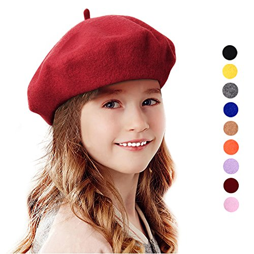 Bonaweite French Wool Berets Hat Classic Fashion Warm Beanie Cap for Girls -