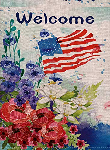 (Selmad Welcome July 4th Patriotic Garden Flag Watercolor Flowers Double Sided Quote, USA Summer Floral Burlap Decorative House Yard Decoration, Seasonal Outdoor Vintage Décor 12 x 18 Spring Quote )