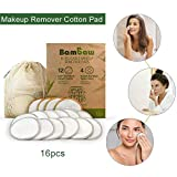 16 pcs Makeup Remover Pad, Reusable Chemical Free Washable Cotton Rounds Cotton Pad for Sensitive Skin Daily Cosmetics