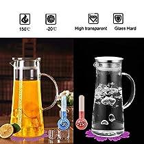 BOQO 1,5 Liter Wasser Pitcher Obst Wasserkrug mit Edelstahl Deckel und Glas Teekanne mit Infuser