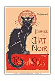 Pacifica Island Art The Black Cat Cabaret Tour (Tournée du Chat Noir) - with Rodolphe Salis - Vintage Cabaret Casino Poster by Théophile Alexandre Steinlen c.1890s - Master Art Print - 13in x 19in
