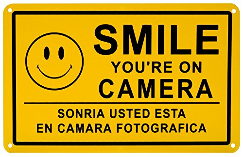 Smile You're on Camera Security Video Surveillance Sign English Spanish Landscape