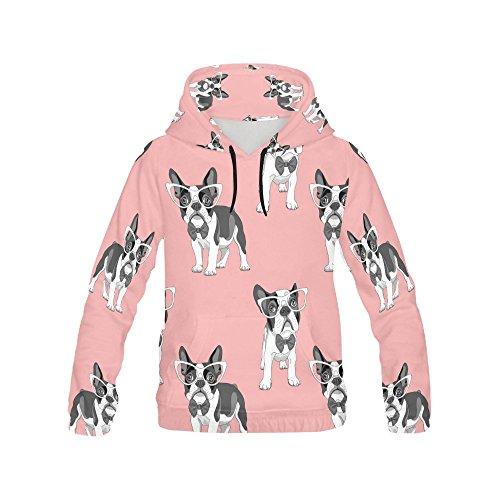 Unique Debora Custom Women's Full-Zip Long-sleeved Sweatshirt Hoodie with All Over Print with French Bulldog ()