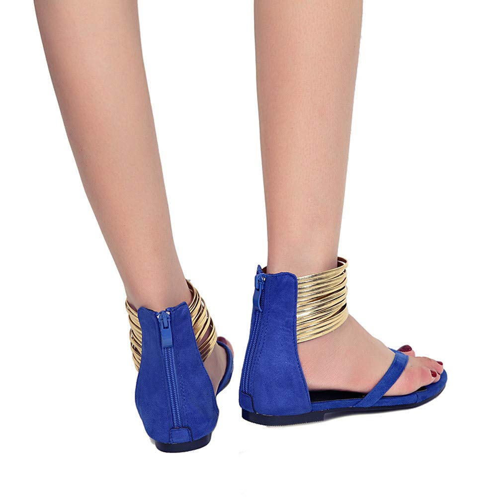 Thenxin Women Summer Round Toe Flat Sandals Breathable Beach Rome Casual Flat Clip Toe Shoes Party (Blue,8 US) by Thenxin (Image #2)