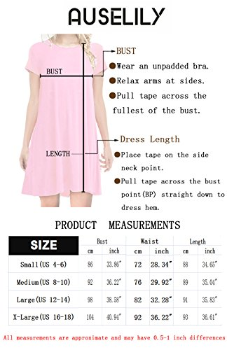AUSELILY Women's Scoop Neck Pleated Loose Swing Casual Knee Length Dress With Pockets (L, Black)
