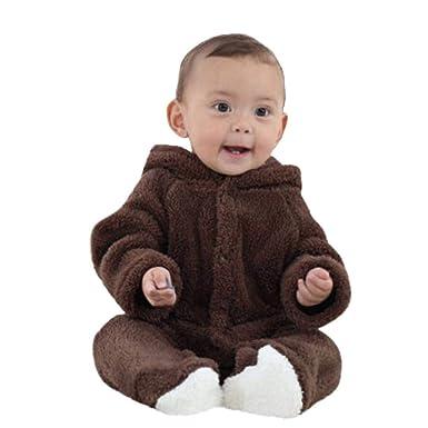 a5568bd95 Amazon.com  Baby Girls Boys Bear Style Jumpsuit Keep Warm Cartoon ...