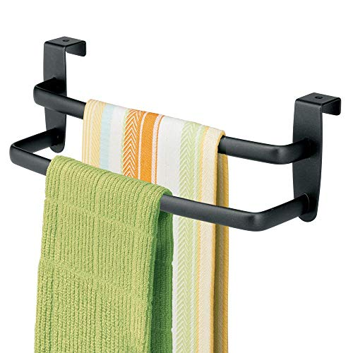 mDesign Modern Kitchen Over Cabinet Strong Steel Double Towel Bar Rack  Hang on Inside or Outside of Doors  Storage and Organization for Hand Dish Tea Towels  975quot Wide  Matte Black