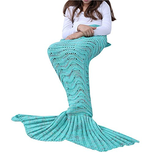 Bluexury Wonderful Mermaid Tail Blanket with Soft Material Cozy Cotton Vibrant Colors Perfect Gift for All Ages Warm for Birthday Christmas